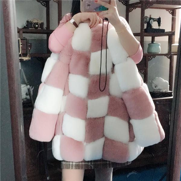 2019 nuevas mujeres de moda caliente o-cuello de manga larga color bloque a cuadros rejilla faux de piel de conejo engrosamiento abrigo corto parka casacos