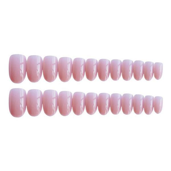 Filles Rose Couleur Faux Femmes Nature Nude Gelée Faux Court Tête Ronde Pleine Couverture Nail Art Conseils Avec De La Colle 24pcs