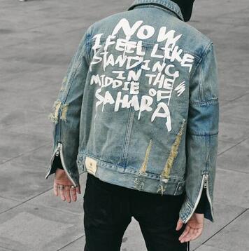 Autunno Uomo Graffiti Denim Giacche Hip Hop Punk gioventù Uomo Vintage Frayed Hole Nero Cerniere Giacca da cowboy Cappotto