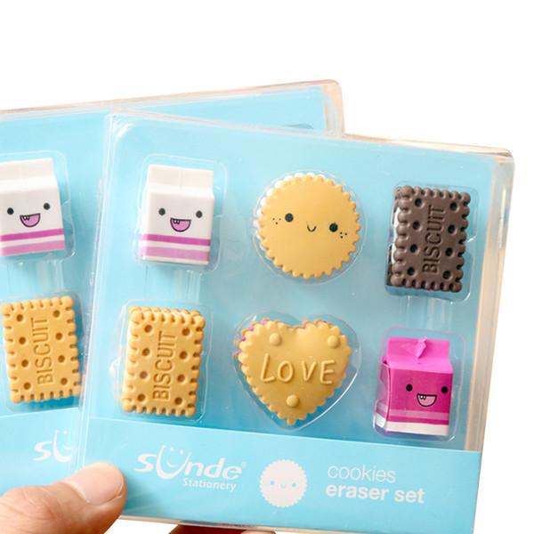 4packs/lot Fantastic Kawaii Cooky Pencil Correction Eraser Stationery Reward Gifts For Kids Cute Erasble Wholesale