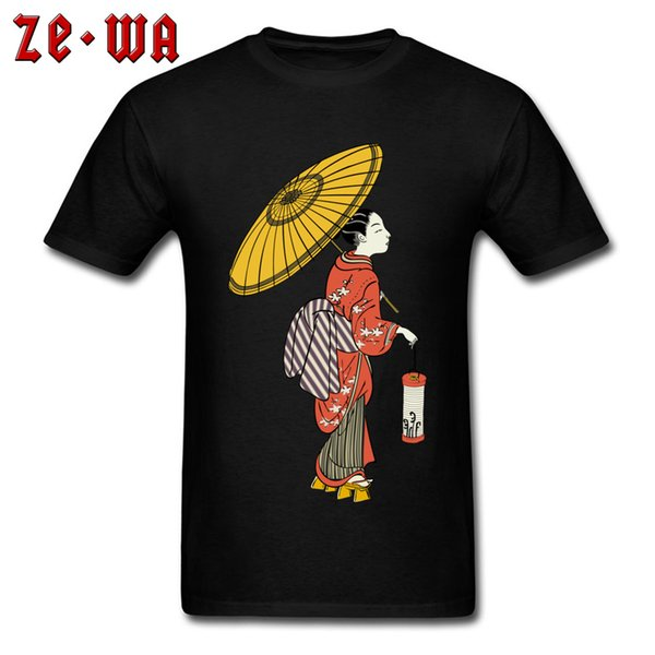 Men Tshirt Japanese Art 100% Cotton T Shirt Street Short Sleeve T-shirts Japan Woman With Umbrella Print Tops Tees Black