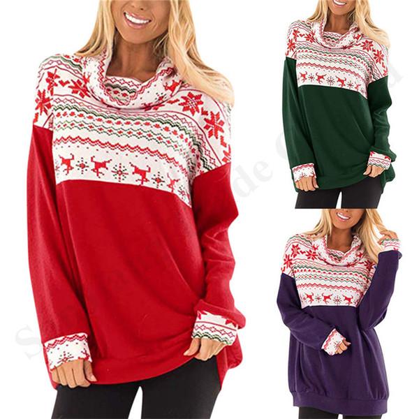 New Christmas Women Hoodie Blouses Long Sleeve Long Collar Sweater Winter Reindeer Snowflake Print Plus Size Sport Jump Suit Tops A120503