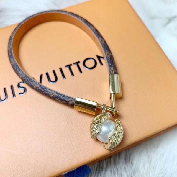Pulsera de marca antigua flor de cuero pulsera de cuerda pendientes mujer encanto pulsera joyería de moda