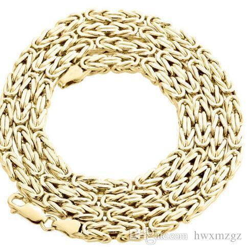 Mens Real 14K Yellow Gold Fill Box Byzantine Link Chain Necklace 24 Inches