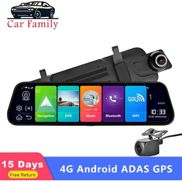 "car family car dvr 10"" 4g android 8.0 rearview mirror dvr gps navigation fhd 1080p dash cam adas video camera recorder"
