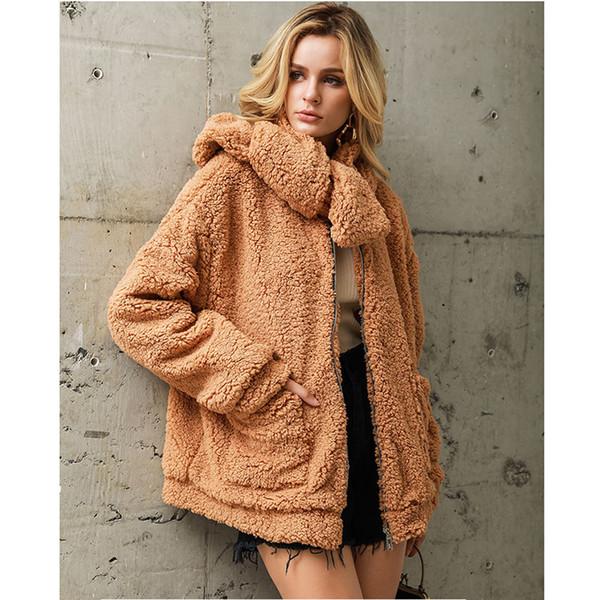 Artı boyutu faux fur teddy bear ceket ceket kadınlar kış kawaii giysi güz 2019 kürklü kadın tops ve bluzlar streetwear 3XL