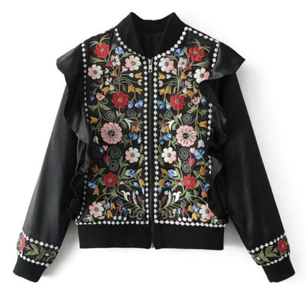 2019 Spring Outerwear Vintage Clothes Embroidery Short Beaded Ladies Jacket Female Casual Elegant Coat Women Tops B546