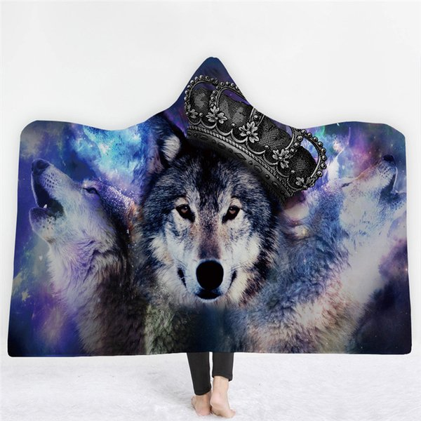 3d animal printed cat tiger wolf hooded blanket for adults kids warm wearable fleece woman throw blanket microfiber on the sofa