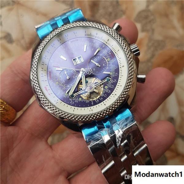 movimento automático Top relógio de pulso multi-função azul Dial tourbillion Moda rei de homens relógios frete grátis