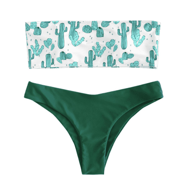Women Adults Slim Holiday Polyester Split Cactus Print Swimsuit Sexy Bikini Set With Brief Summer Wire Free