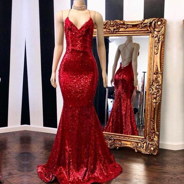 Bling Bling Red Sequins Prom Dresses Mermaid Spaghetti Straps V Neck Open Back Criss Cross Straps Special Occasion Dresses
