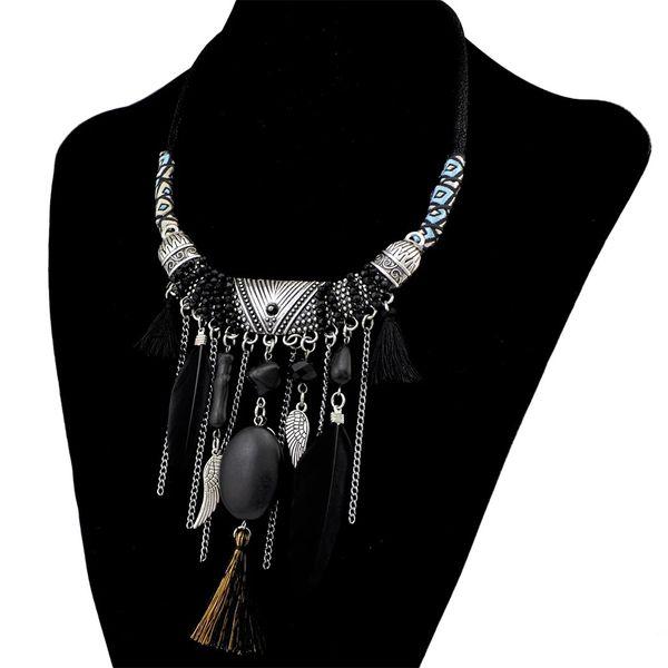 Bohemia plata de la manera de cadena plateado joyería de cuero de perlas de resina de piedra de Natrual borla collar de plumas