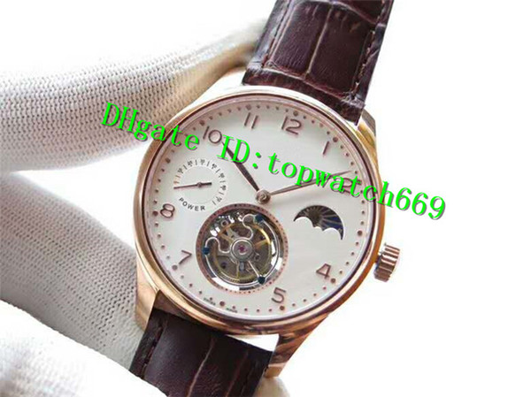 V6 Luxury Mens Watch Swiss Tourbillon Manual Winding Moonphase Power Reserve Rose Gold Case White Dial Leather Strap transparent case back