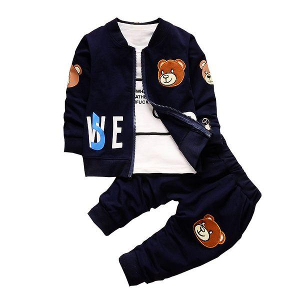 good quality Baby Boy Clothing Sets Kids 3PCS Coat+T-shirt+Pants Children Clothes For Spring Autumn Bebe boy Outfits Bib Tracksuit