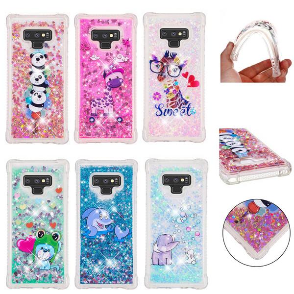 Soft Fashion Love Heart Quicksand Liquid Glitter Silicone Phone Case for Samsung Note 9 J7 Pro S10 M10 M20 Air Cushion Corner Shockproof 03