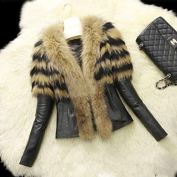Cappotto invernale PU in pelliccia sintetica femminile 2018 Cappotto corto in piumino casual Plus Size Colletto in pelliccia sintetica Giacca invernale in pelle da donna 6XL