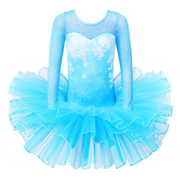 BAOHULU Girls Ballet Dress Blue Long Sleeves Child Ballet Tutu Snowflake Sequins Ballerina Costumes for Girls
