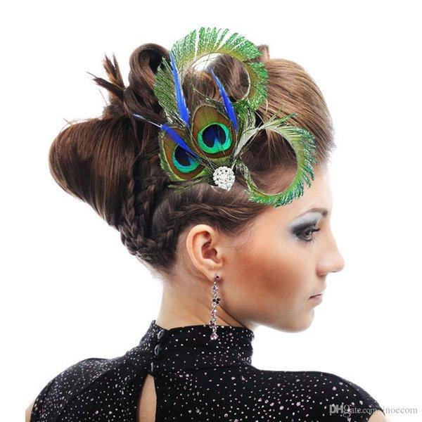 5 pezzi di design di marca piuma di pavone strass da sposa clip di capelli per le donne chic dance party accessori per capelli tornanti