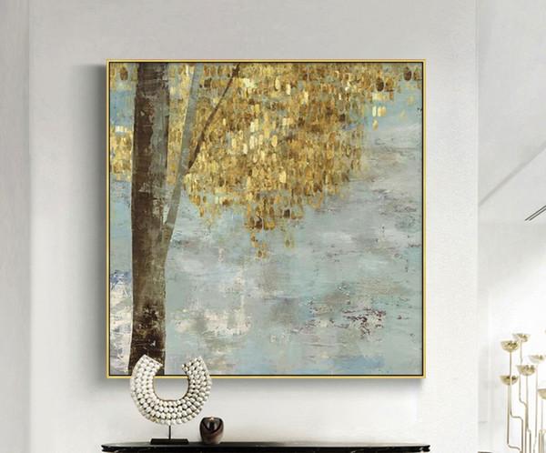 Acheter 100 à La Main Grande Taille à La Main Peinture à L Huile Moderne Abstrait Arbres Dorés Toile Peinture Art Pour La Décoration Murale Art