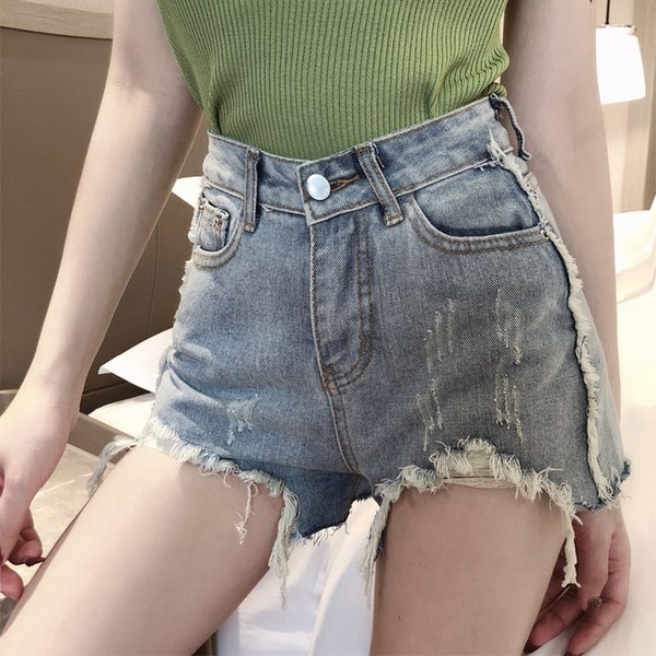 Pantaloncini di jeans a vita bassa femminili della banda della nappa del lato di vendita di stile dell'annata dei jeans di disegno della vita alta di estate femminile di buona qualità casuali