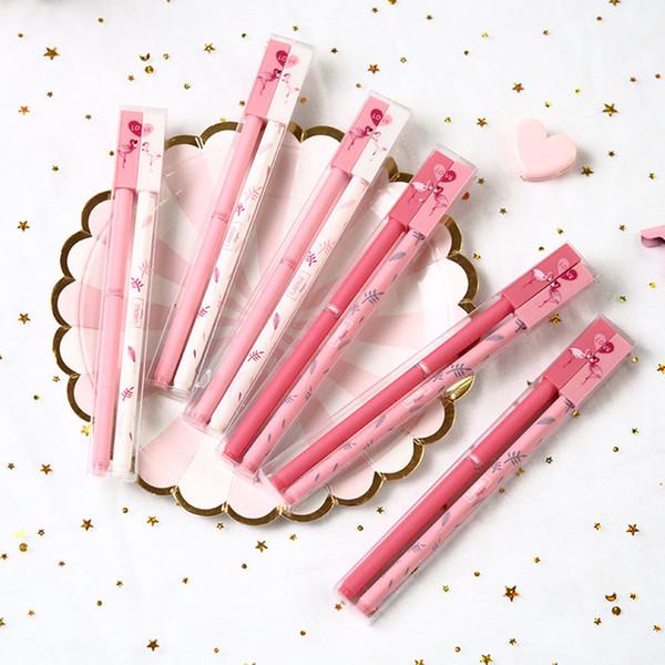 2 teile / paket Liebhaber Flamingo Paar Freundlich Für Immer Gel Stift Schule Bürobedarf Schule Bürobedarf Werbegeschenk
