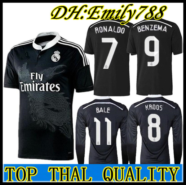 Retro real madrid 14 15 home occer football jer ey bale ronaldo kroo benzema 2014 15 ergio ramo a en io long leeve jer ey, Black;yellow