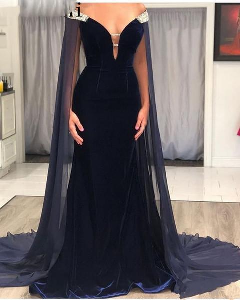 Dubai Velvet Mermaid robes de soirée avec Cape longue bleu marine perles épaule arabe Parti formelle vestimentaire pour les femmes 2020