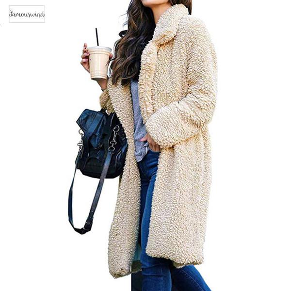 Moda grosso e macio morno mulheres Brasão Teddy Bear velo Fur longo macio Casacos Ladies Casual Frente Abrir Cardigan Exteriores Overcoa