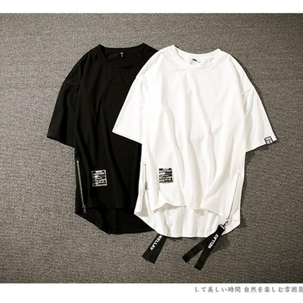 Мужская футболка Summer Trend New Position на обеих сторонах молнии с разрезом Свободная большая повседневная мужская футболка с короткими рукавами с круглым вырезом