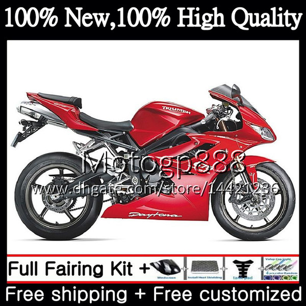 Bodywork Glossy red For Triumph Daytona 675 09 10 11 12 Body 8PG14 Daytona675 09-12 Daytona 675 2009 2010 2011 2012 Hot Fairing Bodywork