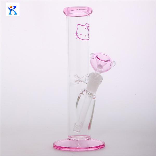 Livraison Gratuite Nouveau verre rose bong hello kitty Tube droit conduites d'eau en borosilicate conduites d'eau pipe à eau narguilés capiteux Tube droit fumer