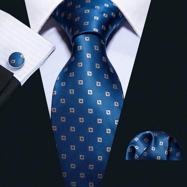 Hi-Tie Popular Blue Plaid Neckties Set 100% Silk 8.5cm Wide Ties for Male Shirt Formal Business N-5054