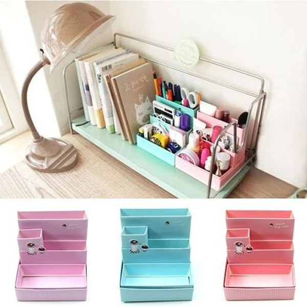 DIY Paper Board Storage Boxes Bins Office Organizer Desk Makeup Cosmetic Case School Stationery