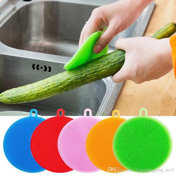 Silikon Çanak Kase Temizleme Fırçaları İşlevli 5 renkler Ovma Pedi Pot Tava Yıkama Fırçaları Temizleyici Mutfak Bulaşık Yıkama Aracı EEA16