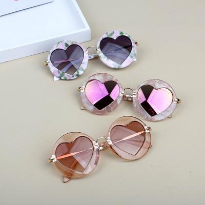 Новые детские очки круглые каркасные анти-УФ светоотражающие сердцевидные линзы прилив детские солнцезащитные очки