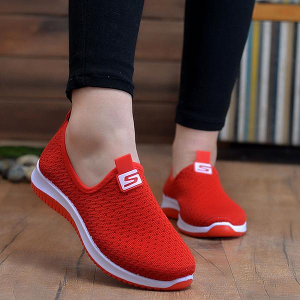 plus la taille respirant air baskets femmes 2019 printemps été glisser sur la plate-forme à tricoter des chaussures de marche souples