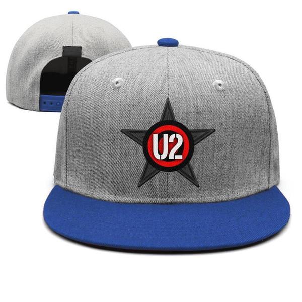 Kaya ve rulo U2 band erkek mavi snapback Hip Hop spor sevimli takım ayarlanabilir şapka