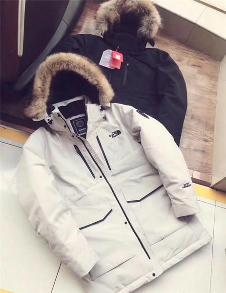 Para hombre de la capa del invierno por la chaqueta Marca Moda El Norte de piel con capucha 92% de pato blanco abajo Parkas capa cara color sólido invierno chaquetas C102503
