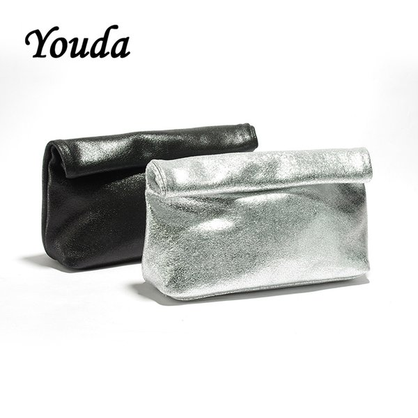 Youda New Leather Baguette Bags Formal Minimalist Fashion Curling Design Day Clutches