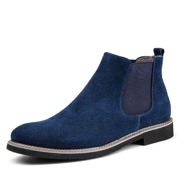 Мода Tide Boots Men большого размера Мужская обувь Повседневная Остроконечные Toe Boots Men из натуральной кожи замши скольжения на Great Design