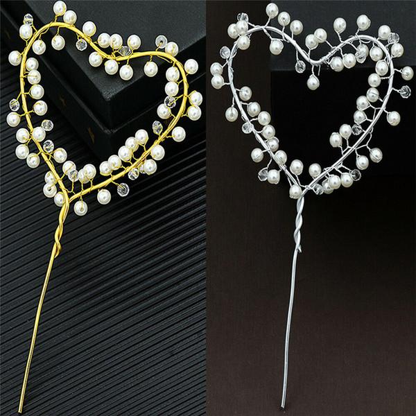 Compleanno Dessert Decoration cake topper Set perla della decorazione Buon compleanno Piuttosto perla di cuore oro / argento eleganti decorazioni