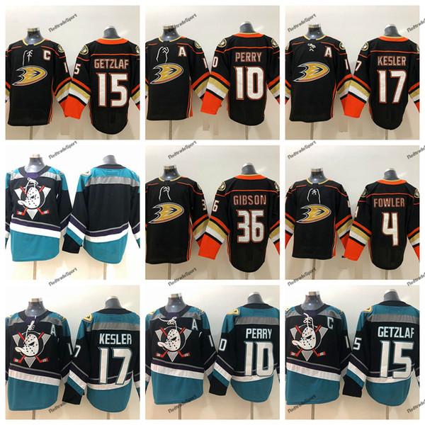 2019 Anaheim Ducks Hockey Jerseys Mens 10 Corey Perry 15 Ryan Getzlaf 17 Ryan Kesler 36 John Gibson 4 Cam Fowler Black Hockey Shirts S-XXXL