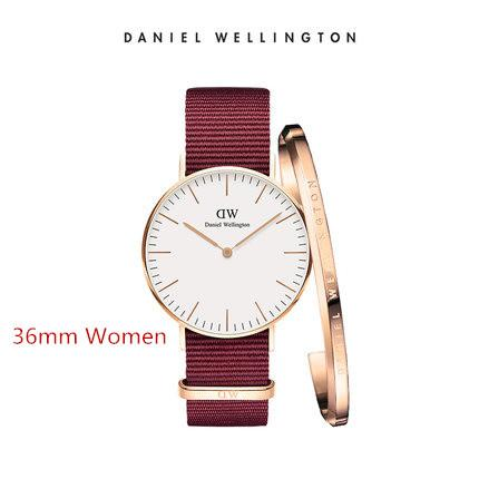 Neue trend Mädchen 36mm Daniel Wellington dw luxusuhren frauen marke Armreif mode quarzuhr leder blau nylon gürtel uhr box
