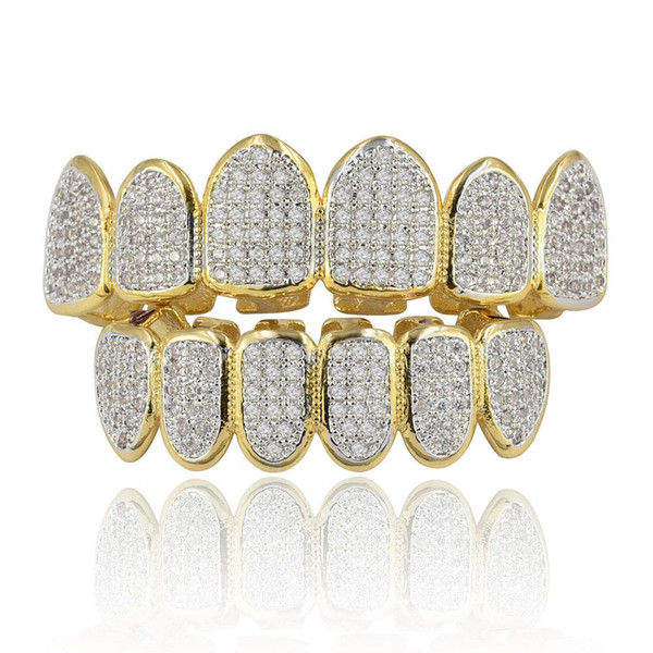 18k Real Gold Plated All Iced Out Luxury Cubic Zirconia Gold Grillz Set with Extra Molding Bars Included