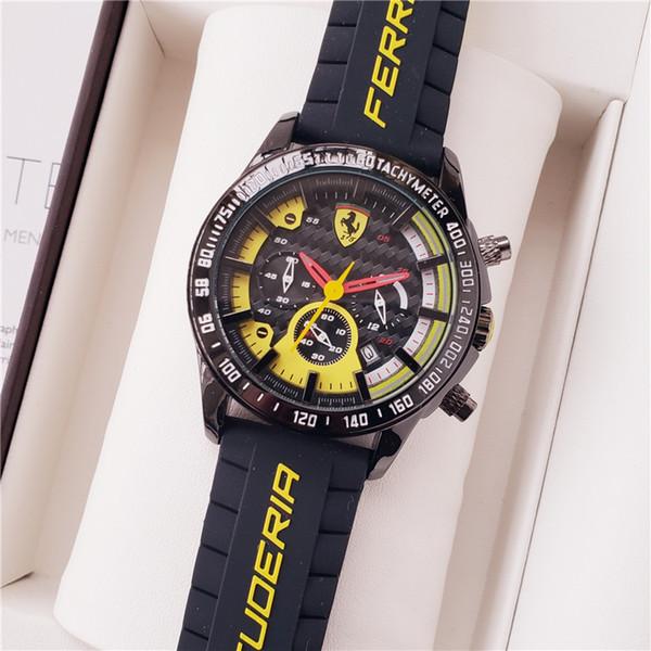 Ferrari Todos los diales funcionan con cuarzo Cronógrafo fecha de hombre nuevo envío de la gota Mecánico barato Alta calidad hombres maestros deportes Relojes de los hombres