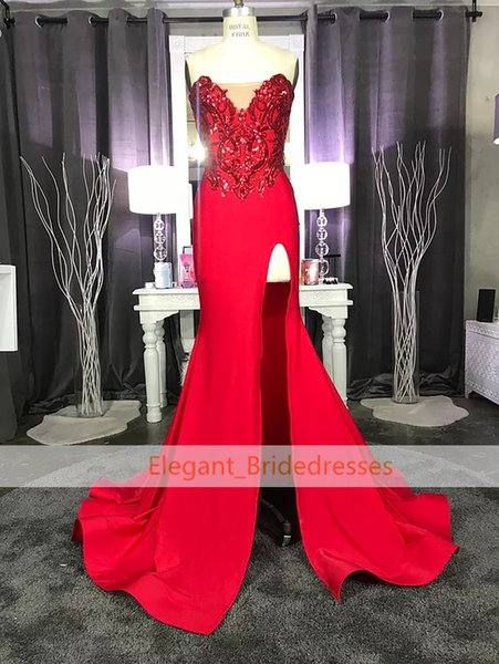 Design Sexy Red Prom Dresses Lace Appliqued Mermaid Front Split for 2019 Long Party Evening Wear Gowns Sexy Black Girl robe de soiree