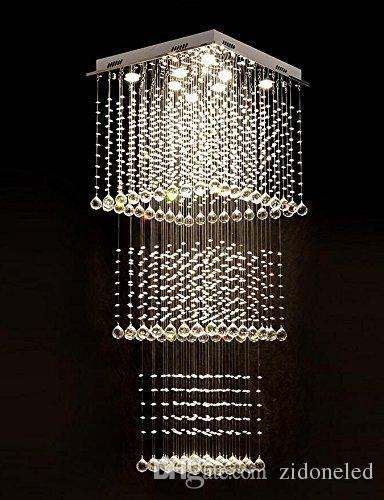 Modern Square LED Crystal Chandelier Lighting Stair Raindrop Ceiling Light Fixture for Hallway Stair Foyer Living Room