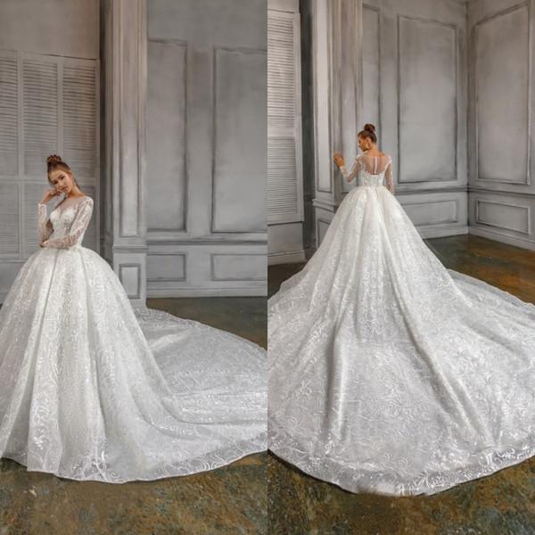 2019 naviblue mode t wedding dre e jewel neck lace applique equin country ve tido de novia weep train a line long leeve wedding dre