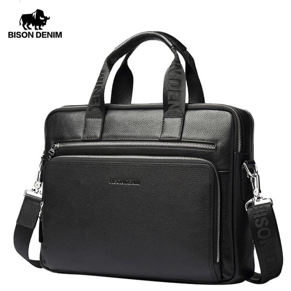 """BISON DENIM Genuine leather Briefcases 14"""" Laptop Handbag Men's Business Crossbody Bag Messenger/Shoulder Bags for Men N2333-3 SH190918"""