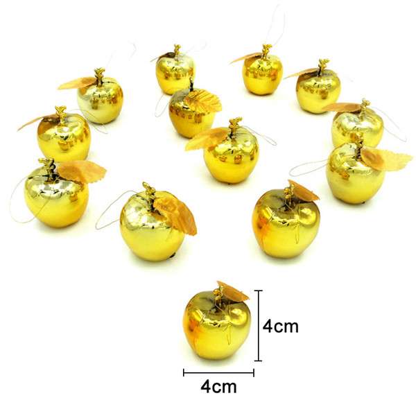 12Pcs Christmas Decoration Apples Tree Hanging Ornament Home New Year Party Events Fruit Pendant MU